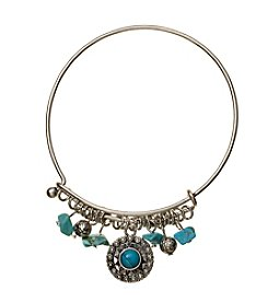 Ruff Hewn Turquoise Silvertone Wire Bracelet