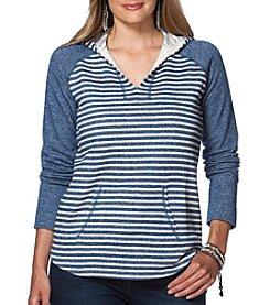Chaps® Plus Size Constance Striped Cotton-Blend Hoodie