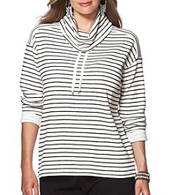 Chaps® Plus Size Dante Striped Funnel Neck Pullover