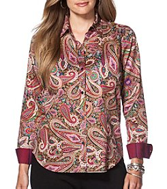 Chaps® Plus Size Non-Iron Paisley Sateen Shirt