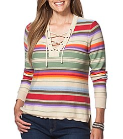 Chaps® Plus Size Striped Lace-Up Sweater