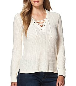 Chaps® Plus Size Lace-Up Sweater