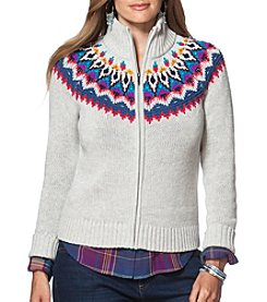 Chaps® Plus Size Fair Isle Full-Zip Sweater