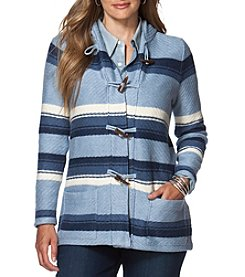 Chaps® Plus Size Striped Hooded Sweater