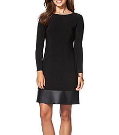 Chaps® Leather Hem Sheath Dress