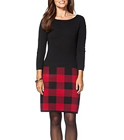 Chaps Plaid Sweater Dress