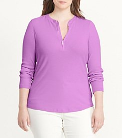Lauren Ralph Lauren® Plus Size Cotton Half-Zip Shirt