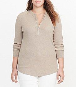 Lauren Ralph Lauren® Plus Size Cotton Half-Zip Shirt