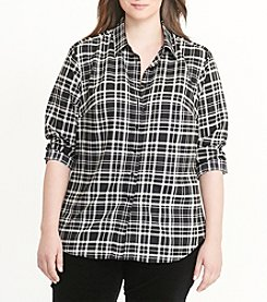 Lauren Ralph Lauren® Plus Size Plaid Cotton Twill Shirt
