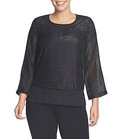 Chaus Herringbone Jacquard Double Layer Blouse