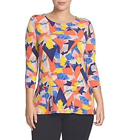 Chaus Cubist Canvas Zip Shoulder Top