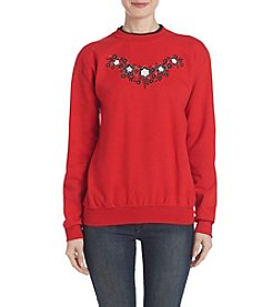 Breckenridge® Floral Fleece Sweatshirt