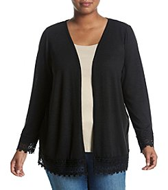 Studio Works® Plus Size Cozy Cardigan With Lace