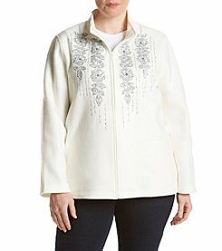 Alfred Dunner® Plus Size Northern Lights Floral Yoke Fleece Jacket
