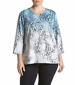 Alfred Dunner® Plus Size Northern Lights Ombre Animal Print Top