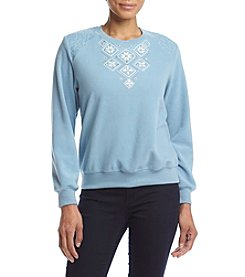 Alfred Dunner® Petites' Northern Lights Floral  Diamond Yoke Top