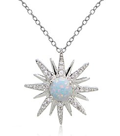 Designs by FMC Silver Plated Created Opal Starburst Pendant