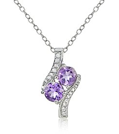 Designs by FMC Silver Plated Amethyst & White Topaz Pendant
