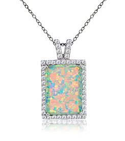 Designs by FMC Silver Plated Created Opal Rectangle Pendant