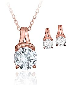 Designs by FMC Rose Gold Plated Cubic Zirconia Pendant & Earrings Set
