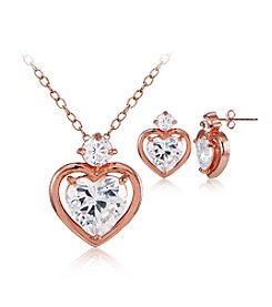Designs by FMC Rose Gold Plated Heart Cubic Zirconia Pendant & Earrings Set