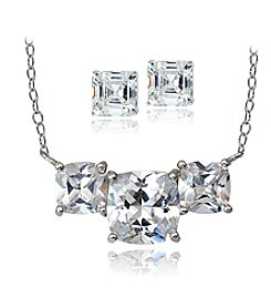 Designs by FMC Silver Plated Cubic Zirconia Pendant & Earrings Set