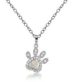 Designs by FMC Platinum Plated Created Opal Paw Print Pendant