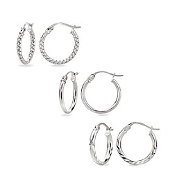 Designs by FMC Sterling Silver Trio Hoop Earrings Set