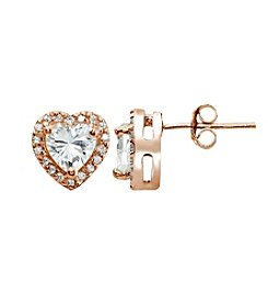 Designs by FMC Rose Gold Plated Heart Cubic Zirconia Earrings