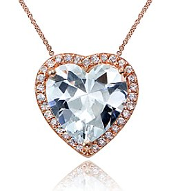 Designs by FMC Rose Gold Plated Heart Cubic Zirconia Pendant