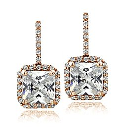 Designs by FMC Rose Gold Plated Square Cubic Zirconia Earrings