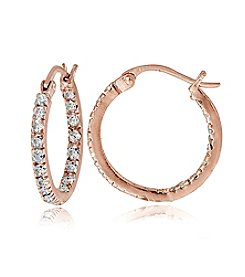 Designs by FMC Rose Gold Plated Cubic Zirconia Hoop Earrings
