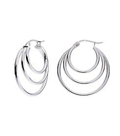 Designs by FMC Sterling Silver Triple Hoop Earrings