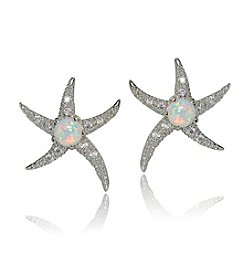 Designs by FMC Sterling Silver Created Opal Starfish Earrings