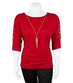 A. Byer Plus Size Rouched Knit Top