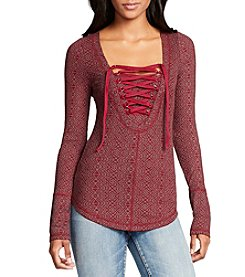 William Rast® Lace Up Henley Top