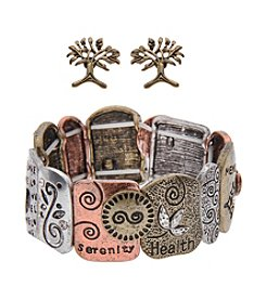 L&J Accessories Tree of Life Bracelet and Earrings Set