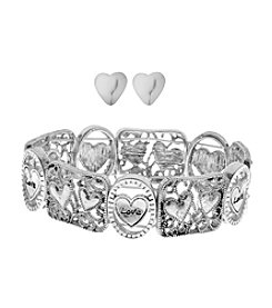 L&J Accessories Hearts Bracelet and Earrings Set