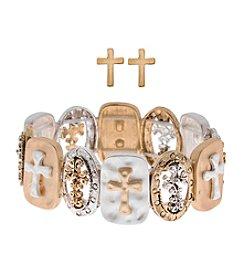 L&J Accessories Cross Bracelet and Earrings Set