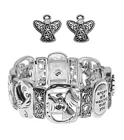 L&J Accessories Linked Angel Bracelet and Earrings Set