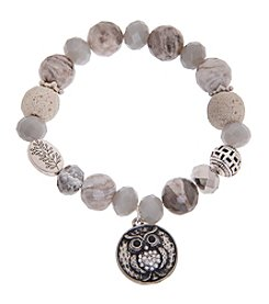 L&J Accessories Owl Disc Charm Bracelet