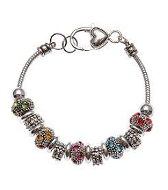 L&J Accessories Marcasite Bead Charm Bracelet
