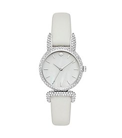 kate spade new york® White Leather Strap Silvertone Watch