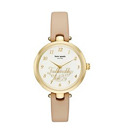 kate spade new york® Vachetta Leather Strap Holland Watch