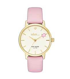kate spade new york® Leather Strap Metro Flying Pig Watch