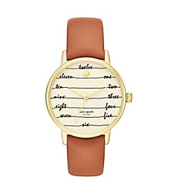 kate spade new york® Luggage Leather Strap and Goldtone Metro Watch