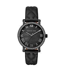 Michael Kors® Norie IP and Leather Three Hand Watch