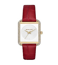 Michael Kors® Lake Leather StrapThree Hand Watch