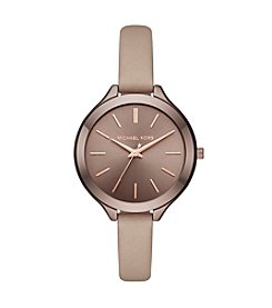 Michael Kors® Slim Runway Beige Leather Strap Three Hand Watch