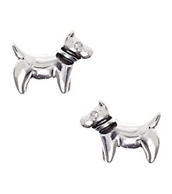 Pet Friends™ Silvertone Dog Button Stud Earrings
